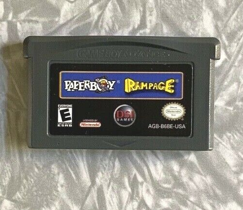 Paperboy + Rampage 2-game Gameboy Advance Cartridge Cleaned & Tested FREE SHIP