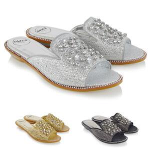 e245643cdd9c Womens Slip On Sandals Low Heel Slider Ladies Sparkly Rhinestone ...