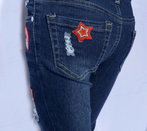 GIRLS Distressed Roll-Up Patch Jeans