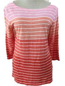 Ann Taylor knit top Size L large pink orange stripe 3/4 sleeve cotton