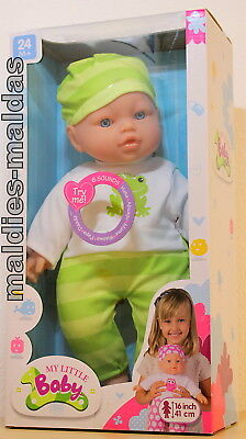 Babypuppen & Zubehör Sonstige Babypuppen Sporting My Little Baby Puppe Weichkörper Grün/weiß Ca 41 Cm Und Geräusche 27007g