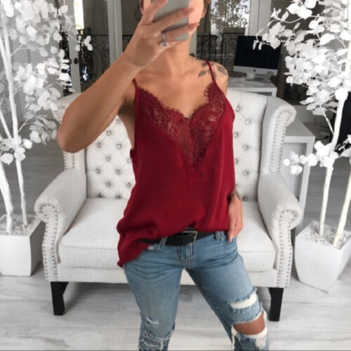Women Summer Polyester Sleeveless Lace Mesh Loose Vest V-Neck Cami Soft Tank Top