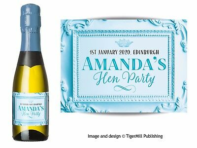 PERSONALISED baby blue MINI Champagne Wine bottle labels Wedding Hen Anniversary
