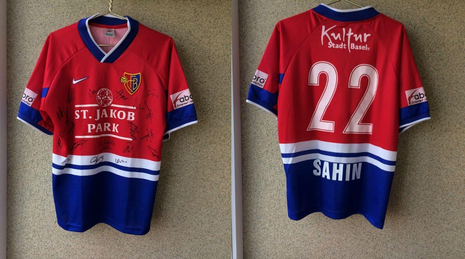Basel 1893 Home football shirt 19981999 Match Worn Signed   22 Attila Sahin