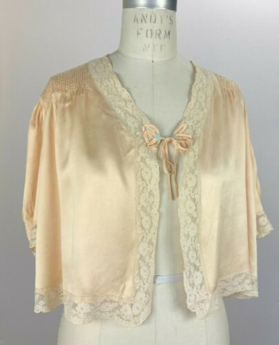 1930s rich silk bed jacket