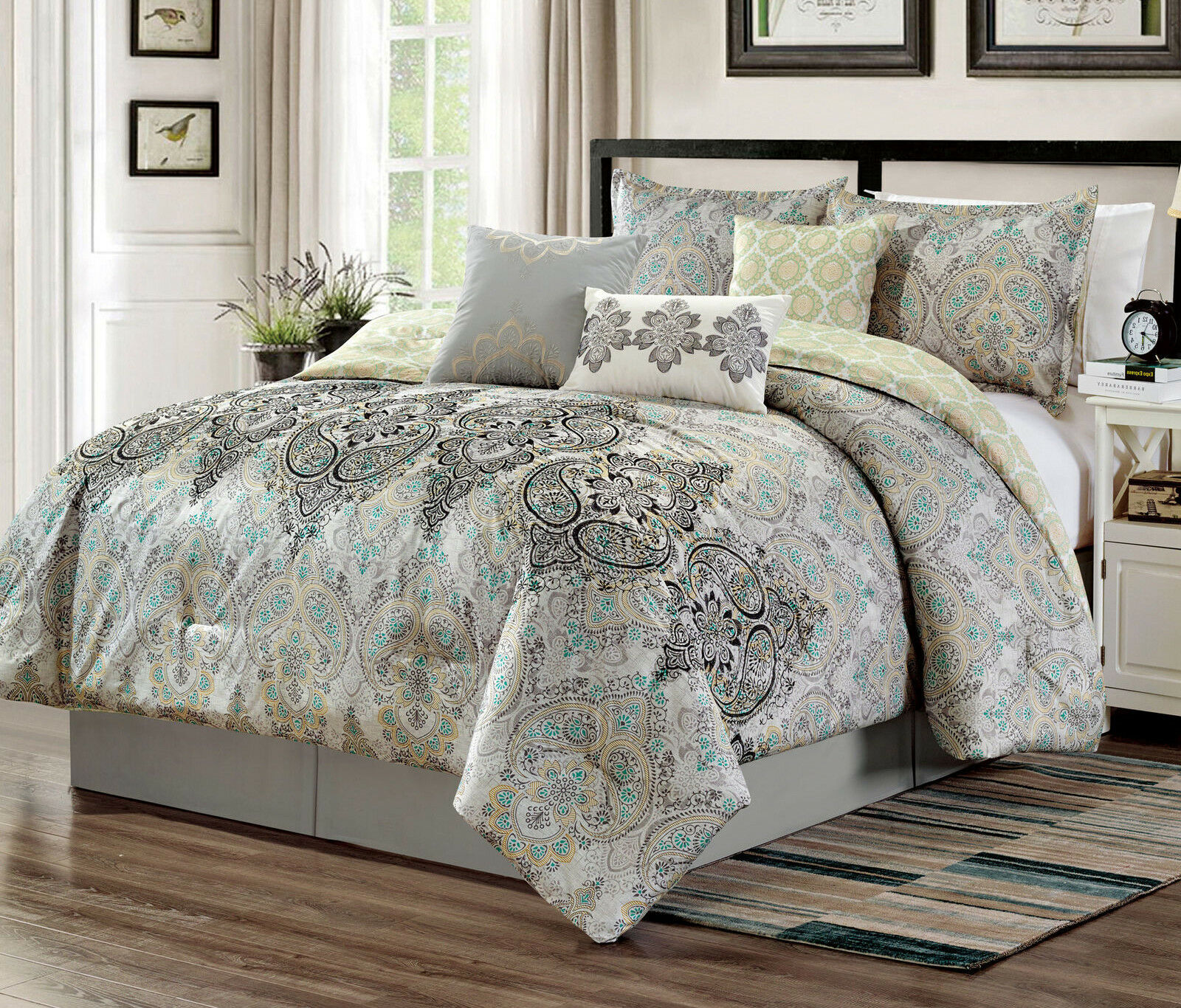 NEW Elegant Farbeful Paisley Scroll 7 pcs Cal King Queen Comforter Shams Set
