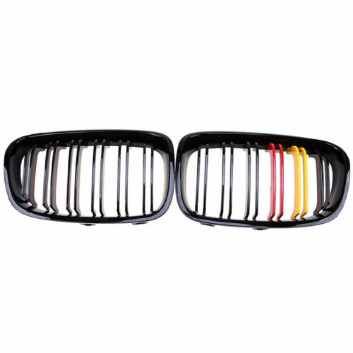 Gloss Black M Color For 11-14 BMW F20 F21 1 Series Kidney Twin Line Grill Grille