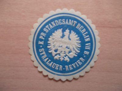 K Siegelmarke Standesamt Berlin Vii B Stralauer-revier Reines Und Mildes Aroma Gut 12797 Pr