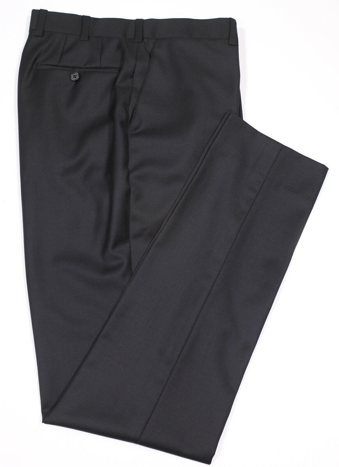 Alba nach Maß Kleidung Festes Schwarz Wolle Glatt Vorne Enge Passform Anzughose