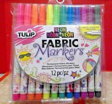 Tulip Neon Fine Tip Fabric Markers 12 pc NEW! Permanent Mkrs