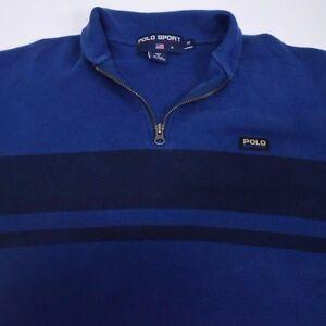 Men-039-s-Small-POLO-SPORT-Ralph-Lauren-1-4-Zip-Striped-Patch-Pullover-Sweatshirt
