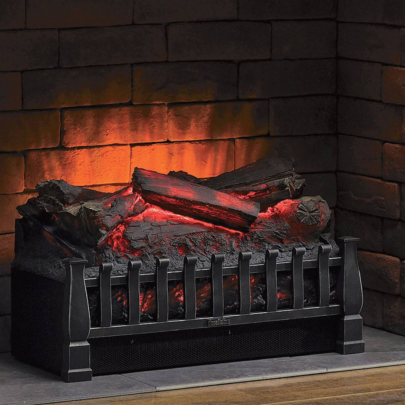 electric log heater infrared set fire fireplace realistic ember bed rh ebay com