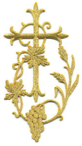 Fleur Cross W/Grapevine - Vestment - Yellow Gold Metallic Iron On Applique 5""
