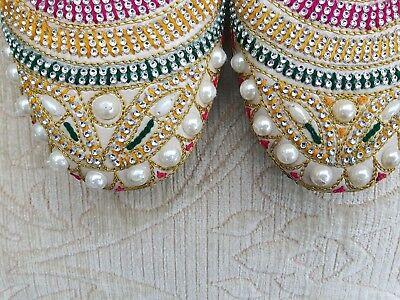 Crema/Beige Damas Indio Boda Espalda menos Khussa zapatos talla 7
