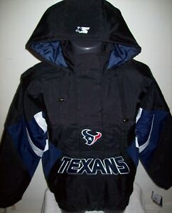 premium selection 2f20e ae5a2 Details about HOUSTON TEXANS Starter Hooded Half Zip Pullover Jacket S M L  XL 2X BLACK w BLUE