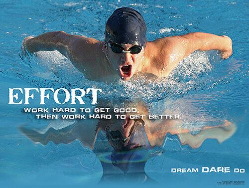 Inspirational Motivational POSTER Print Swimming EFFORT Work Hard, Work Harder