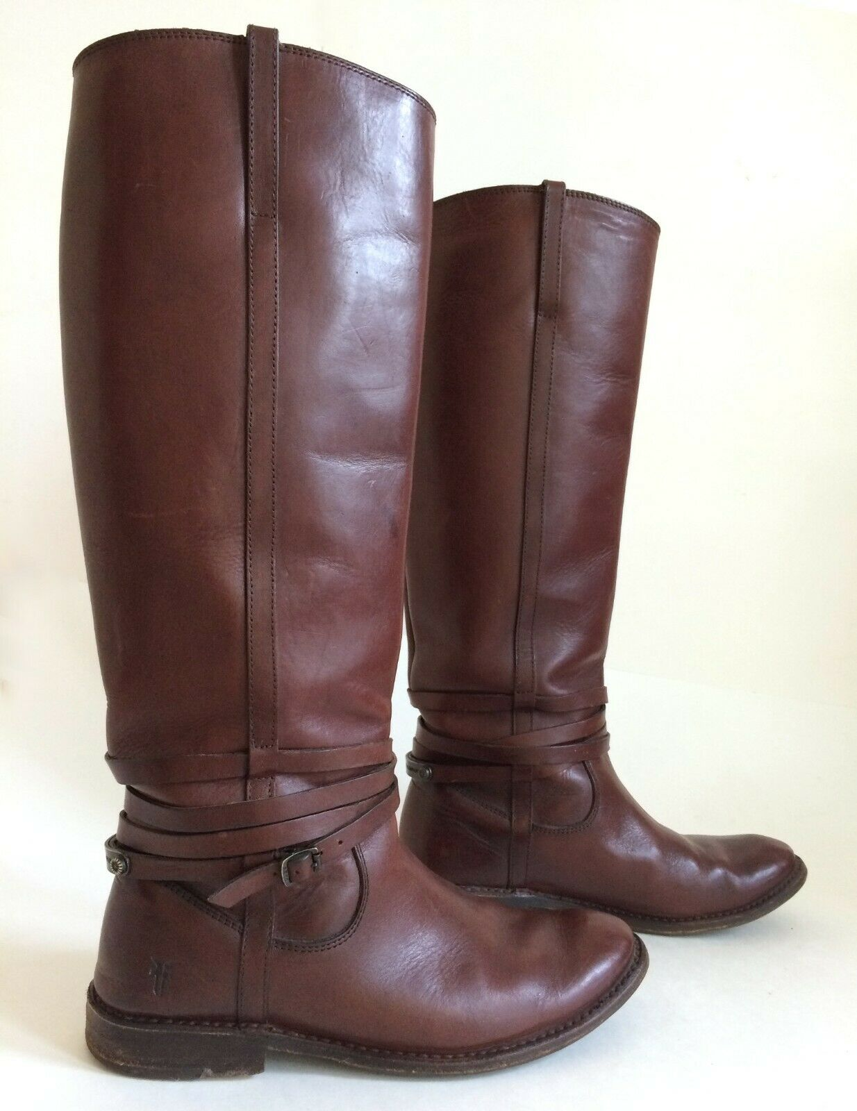 FRYE 77754 Shirley Riding Plate Brown Leather Motorcycle Tall Boots Size 6.5