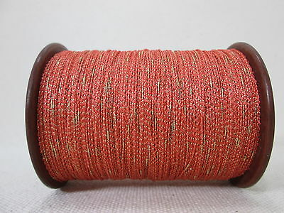 Vintage Red Boucle with Metallic Thread Fly Tying Embroidery Weaving Knitting