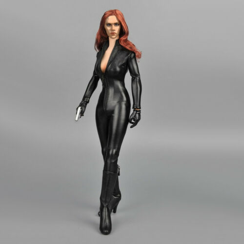 2 Sets 1//6 PU Leather Jacket Jumpsuit for 12/'/' Hot Toys Female Action Figure