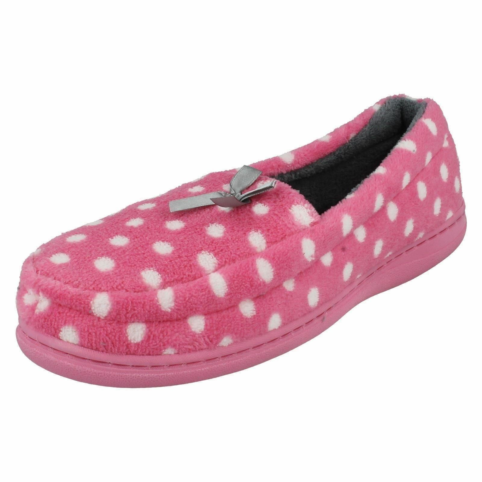 WOMENS SOFT JYOTI PINK POLKA DOT MOCCASIN SLIPPER WITH SOFT WOMENS PADDED UPPER FREE P&P 0df475