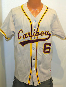 best loved ce295 43f9f Details about vtg CARIBOU VIKINGS BASEBALL GAME Jersey LARGE Ripon 90s team  issue #6 gray L
