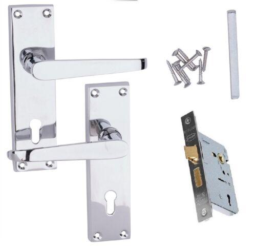 """6/"""" Victorian DROITE LEVIER Lock Entrance Poignées de Porte Chrome Poli 150 mm D29"""