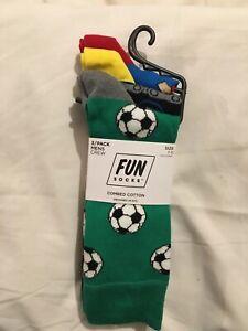 BNWT-Fun-Chaussettes-pour-Homme-Cadeau-Sports-Pack-3-Chaussettes-RRP-18