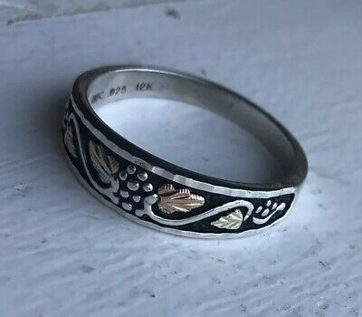 Black Hills Grape Vine Ring Sterling Silver With 12K Gold Size 4-10
