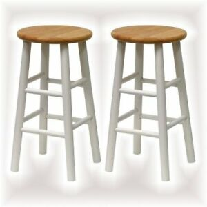 Details about Wooden Top Bar Stool 2 Pack Round Seat Chair 24in Counter  Height Kitchen Island