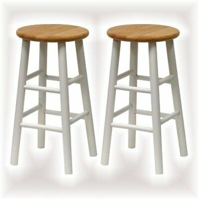 Wooden Top Bar Stool 2 Pack Round Seat Chair 24in Counter Height Kitchen Island 648865043796 Ebay