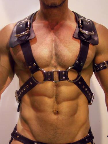 Men Body Restraint Leather Harness Belts Straps Suspenders Braces Armor Costumes
