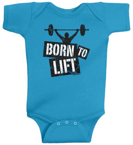 Threadrock Baby Born to Lift Infant Bodysuit Funny Fitness Gym Bodybuilder