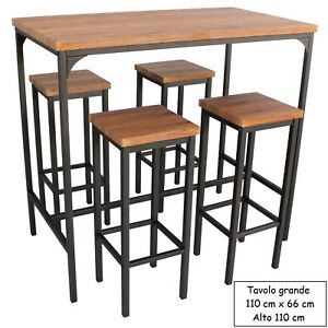 Tavoli E Sgabelli Alti Da Bar.Dettagli Su Set Tavolo Bar Rettangolare E 4 Sgabelli Alti Mod Firenze Marrone H 110 Design