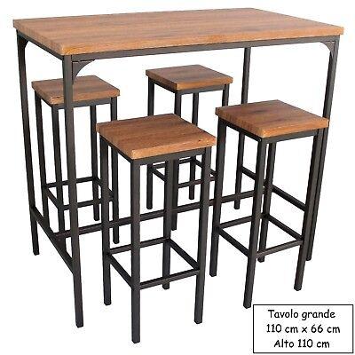 Tavoli Alti Per Esterno.Set Tavolo Bar Rettangolare E 4 Sgabelli Alti Mod Firenze Marrone