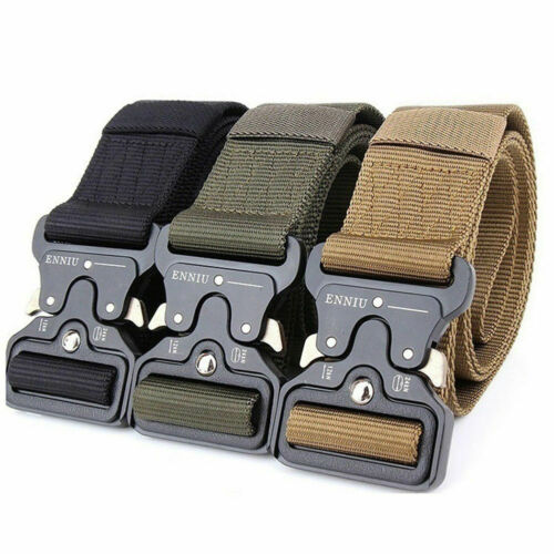 Men Military Outdoor Sports Military Tactical Nylon Buckle Waistband Belt Solid