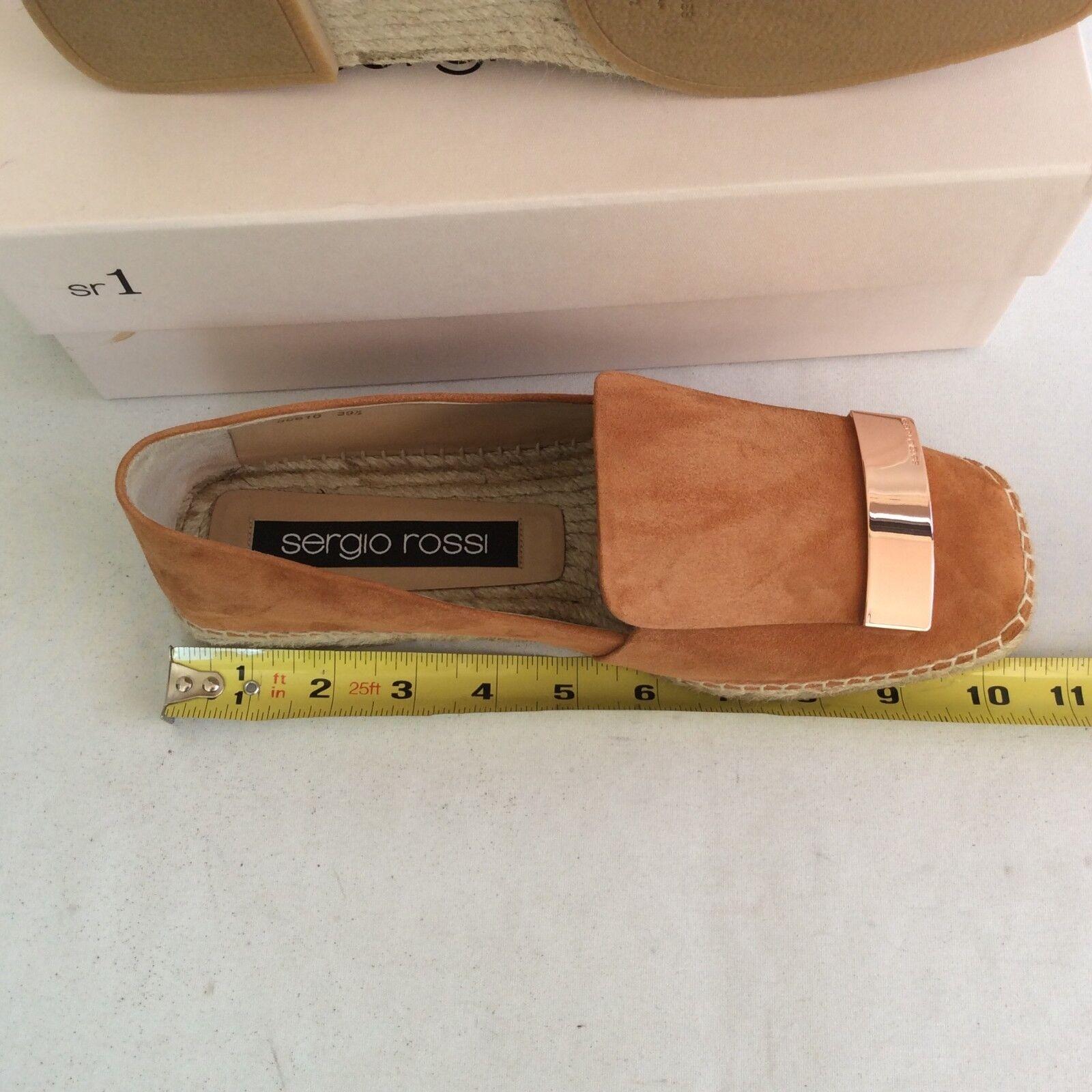 NIB Sergio Rossi Sr1  Suede Loafer Espadrille Cuir Flat Moccasin 39.5 Royal Cuir Espadrille $495 c92f53
