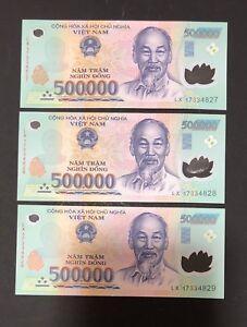 6 x 500,000 VIETNAM DONG MONEY POLYMER CURRENCY BANKNOTE MILLION VIETNAMESE UNC