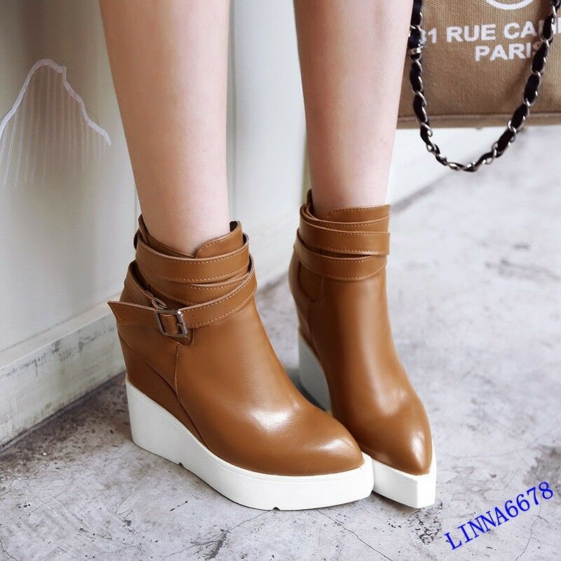 Womens Wedge Platform Buckle Pointed Toe Ankle  Strap Boots Slip On Casual shoes
