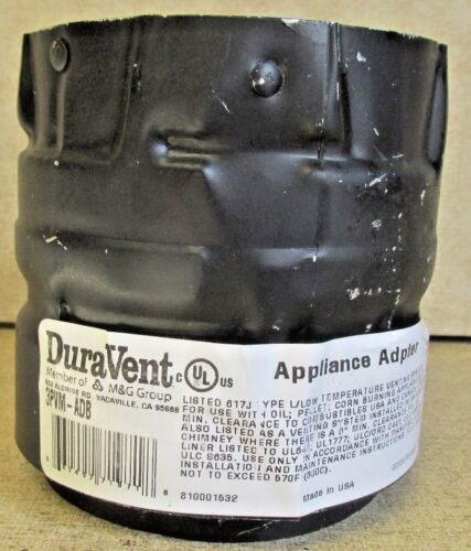 """DuraVent 3/"""" Vent Pipe Appliance Adapter Chimney Pellet Stove Fireplace 3PVM-ADB"""