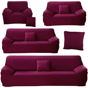 Details about Candy Violet Stretch Sofa Covers Protector Couch Slipcover  For 1/2/3/4 Seater