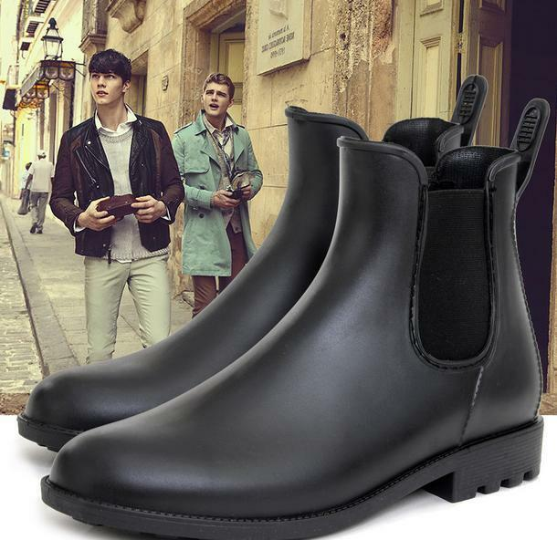 Men's Pull On Short Low Heel Black Ankle Boots Punk High Top Waterproof shoes