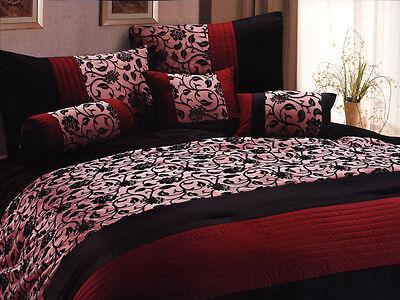 7-Pc Classy Floral Motif Comforter Set Burgundy Black Goth Gothic Vampire King