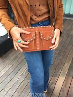 Zara Leather Studded City Bag Hand Bag Shoulder Bag Brown