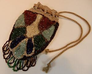 kleiner-Perlenbeutel-Pompadour-Geldsack-antik-1900-bunt-Glasperlen-15cm