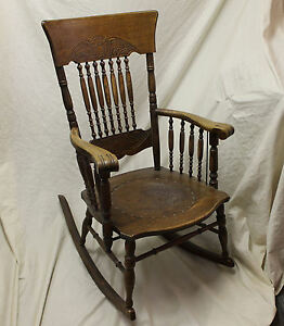 Image Is Loading Antique Oak Armed Pressed Back Rocker Leather Seat