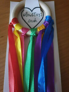 Handmade-Baby-Shower-gifts-Sensory-ribbon-amp-ring-Rainbow-Colours-SEN-Toy