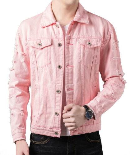 Mens Cotton Jean Jacket Ripped Distressed Short Button Coat
