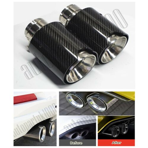 18302355889 Car Exhaust End Tips Glossy Black 2X Stainless Steel+Carbon Fiber