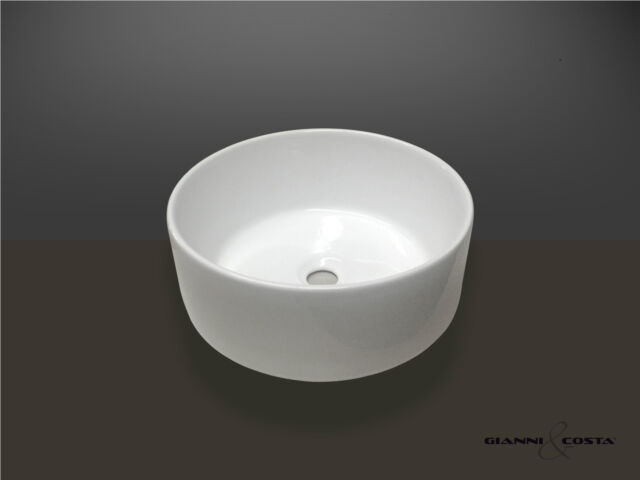 BATHROOM CERAMIC ROUND ABOVE COUNTER TOP BASIN FOR VANITY INCLUDES POP UP WASTE