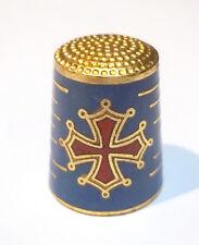 dé à coudre en métal cloisonné avec la croix du Languedoc,thimble,vingerhoed  S4